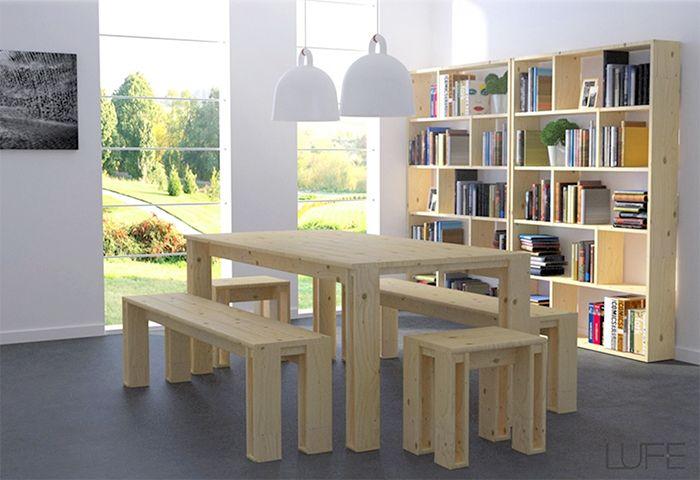 bancos mesa lufe madera estanteria