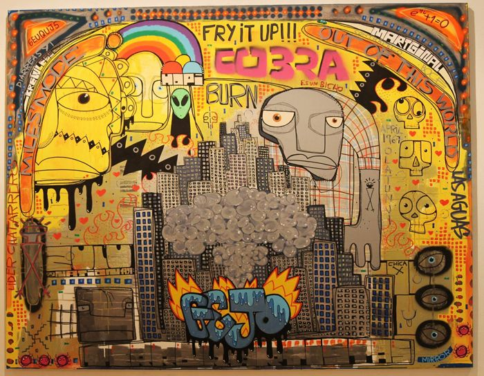 graffiti ciudad gejo tonos amarillos y explosion con caras y mensajes