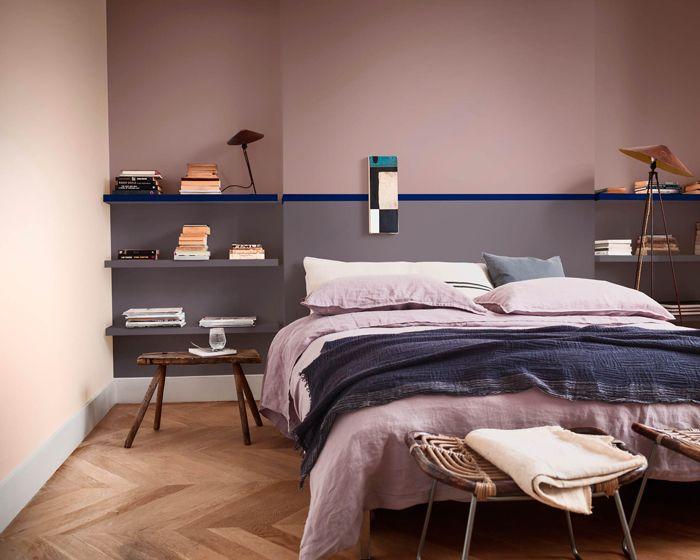 habitacion, cama, lampara pared, mesilla de noche, cabecero