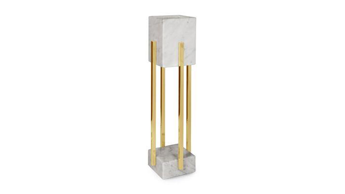 lampara mesa mármol y bronce