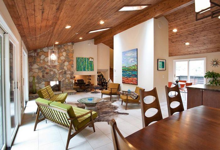 sala con estilo muebles de mediados de siglo