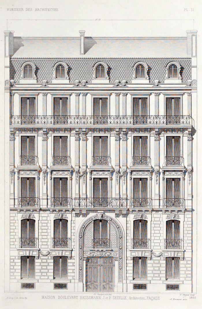 dibujo, fachada, edificio, paris