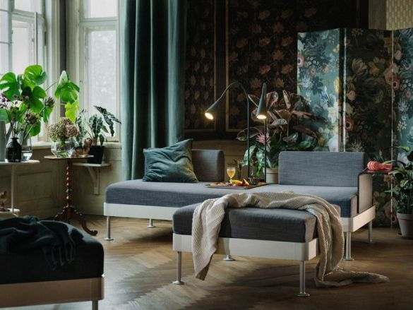 chaise longe moderno IKEA con terciopelo