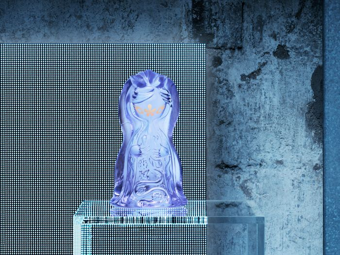 figura de vidrio morada ikea