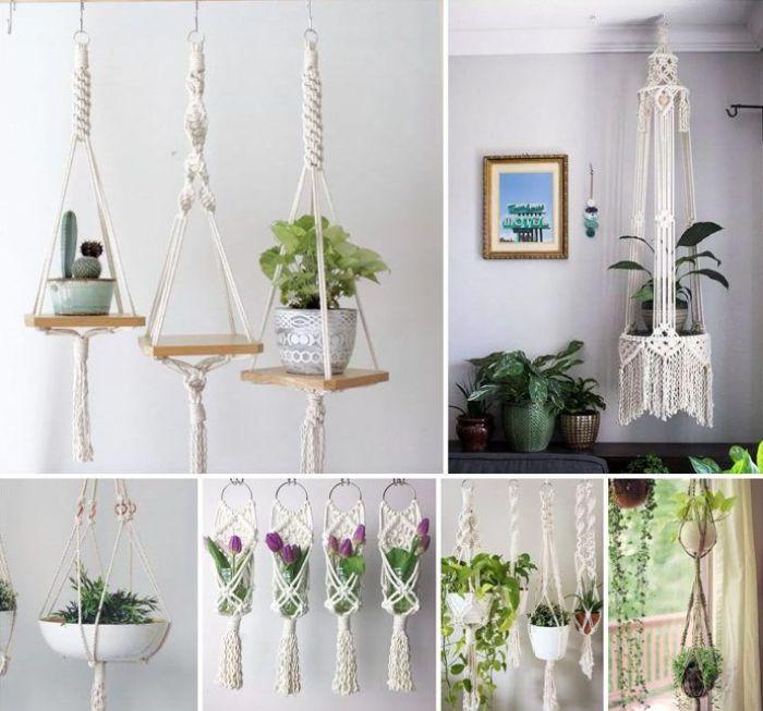 decoracion boho plantas macrame