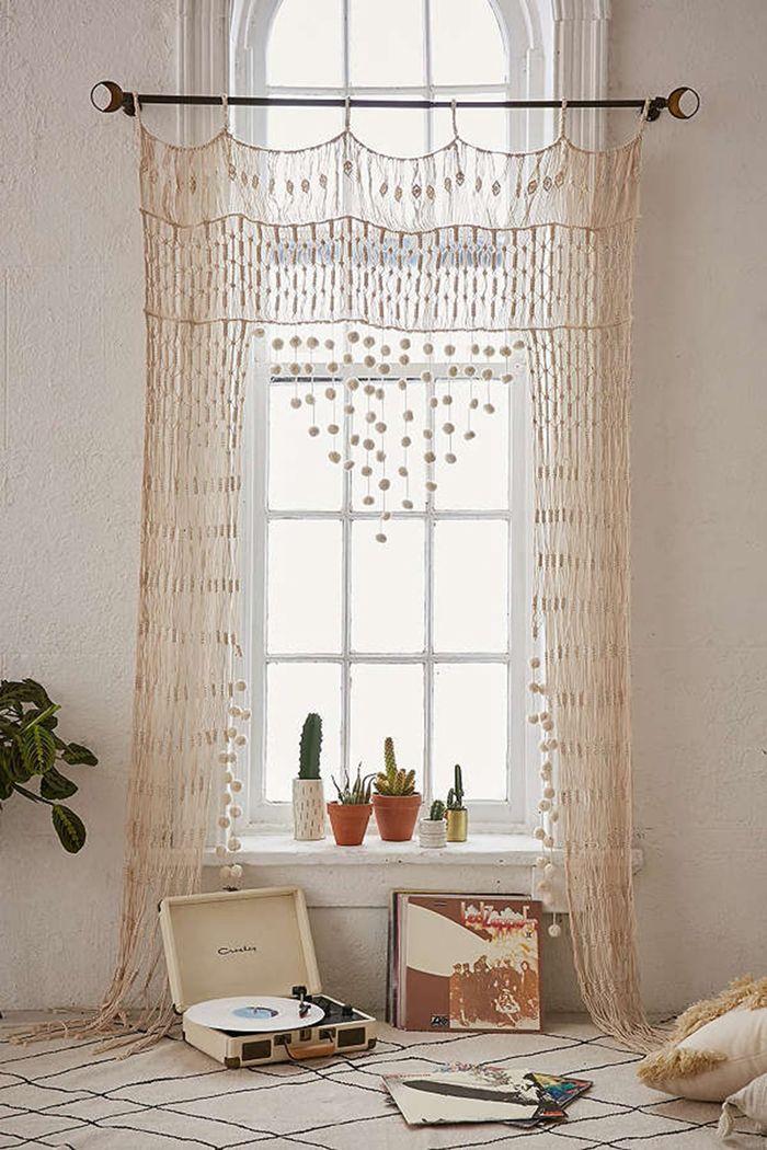estilo boho ventana cortina tejida