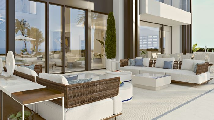 terraza mimbre vivienda lujosa en Marbella