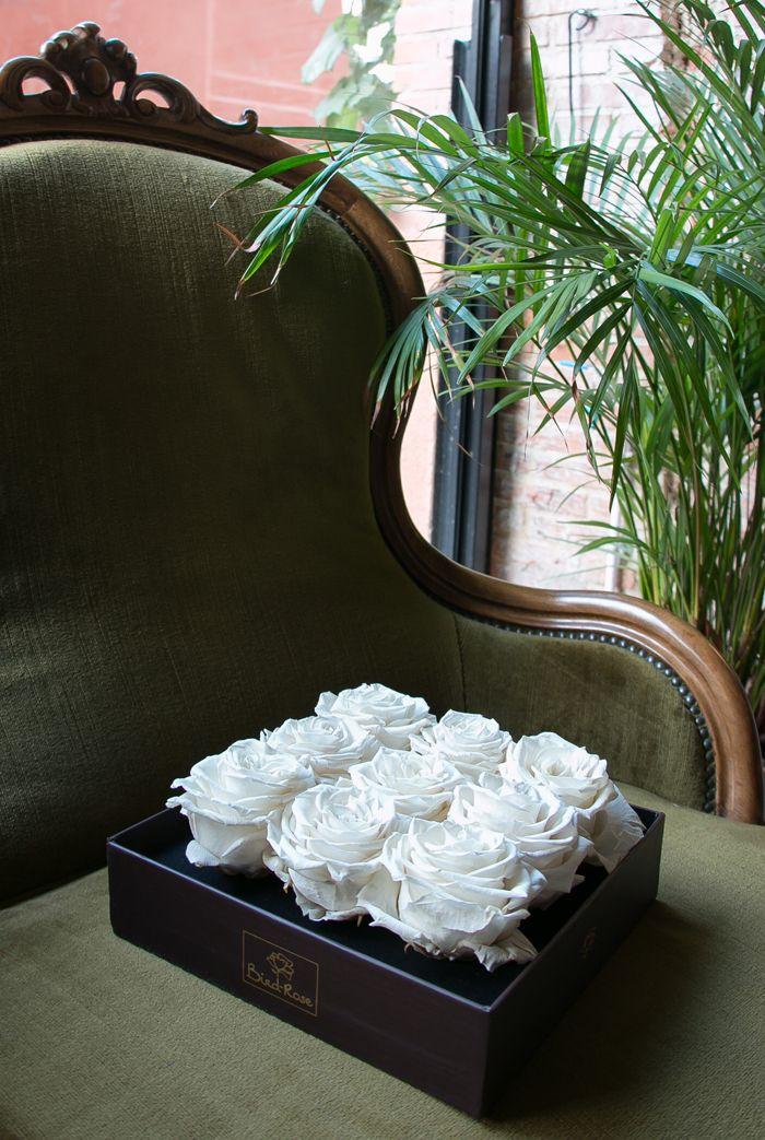 caja nueve rosas blancas preservadas cuadrada