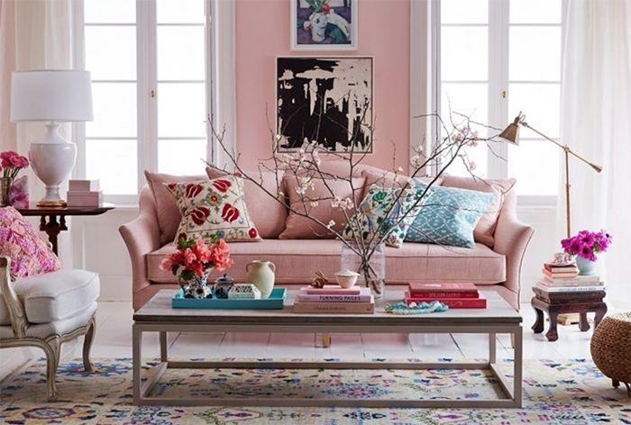 Sillon rosa claro ondulado elegante
