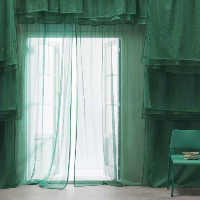 cortinas verdes trasparentes