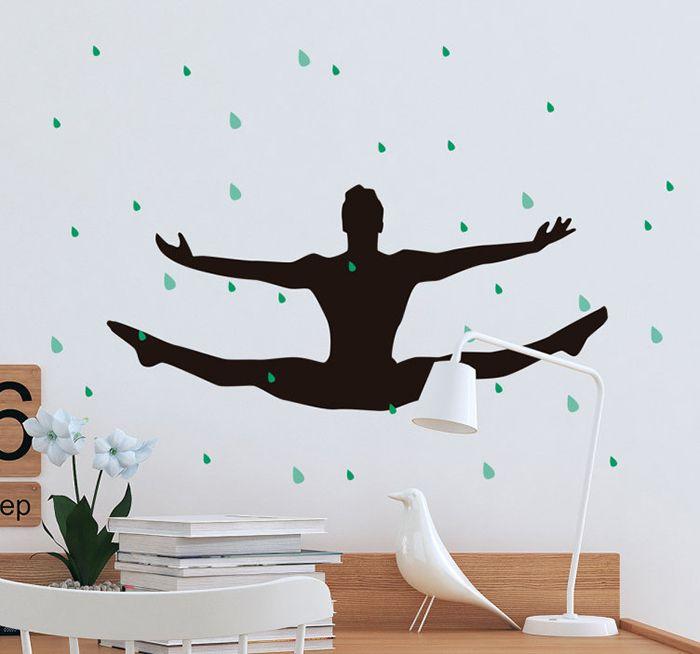 decoracion pared gimnasta masculino negra