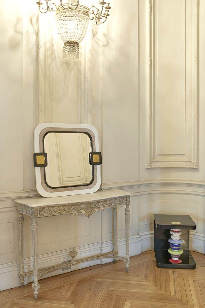comoda con espejo blanco curvo coleccion ERA estilo memphis