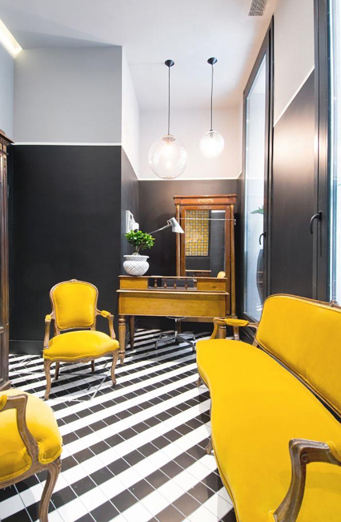 salon amarillo blanco y negro diseño sapey