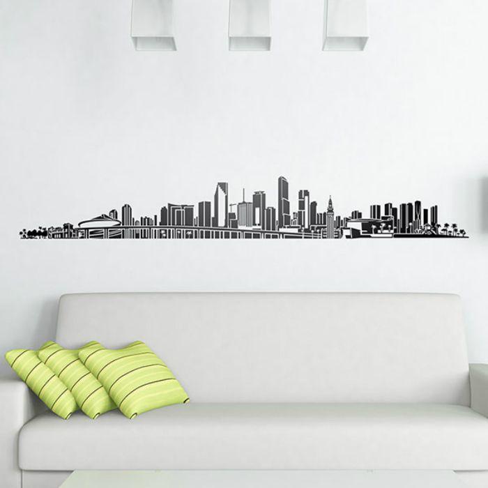 pared vinilo skyline