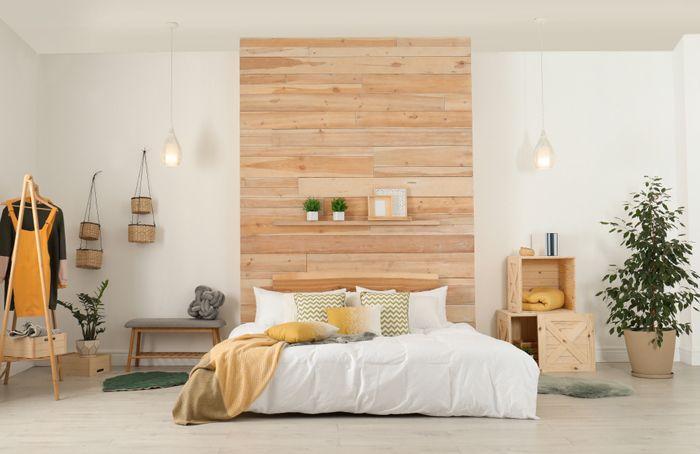 dormitorio doble con cabecero laminas madera