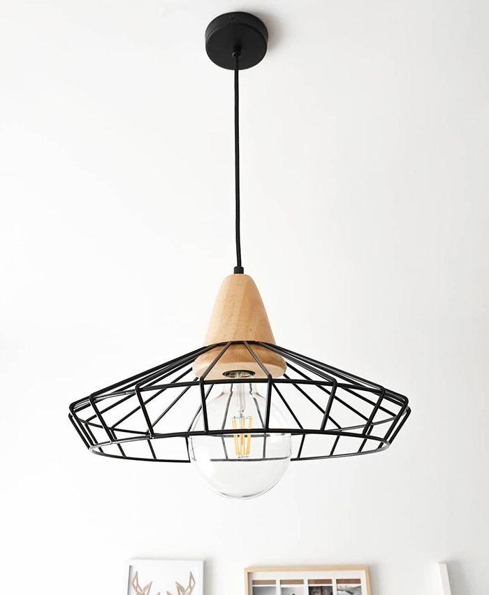 lampara negra metal varillas