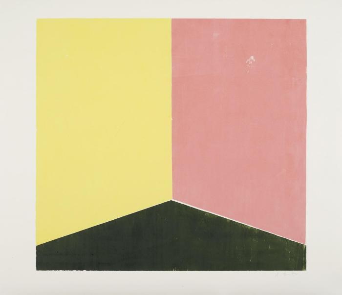 pintura geometrica amarillo rosa negro