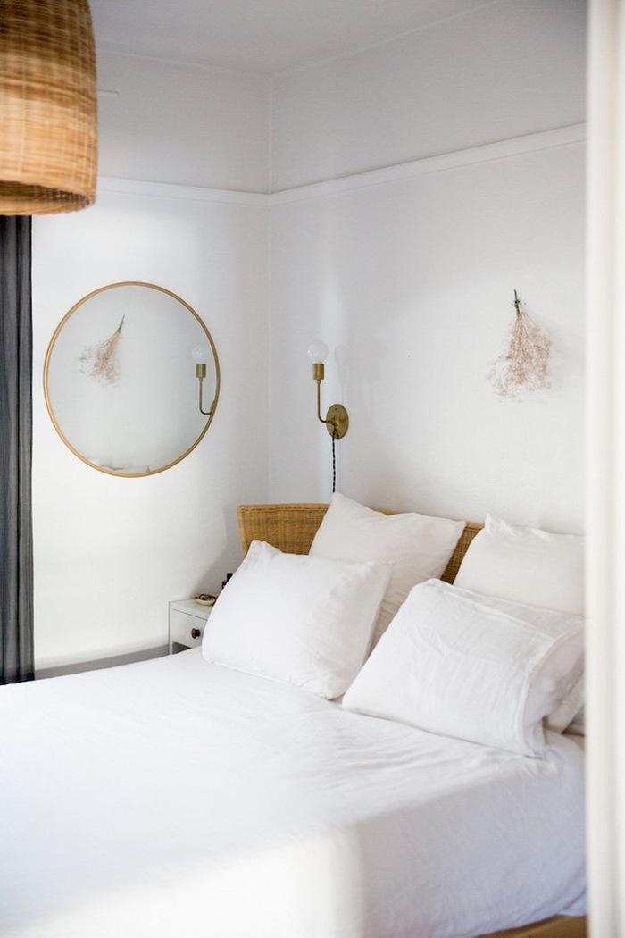 habitacion sabanas colcha blanca