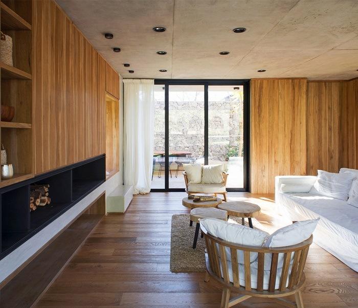 madera en la arquitectura, interior de casa