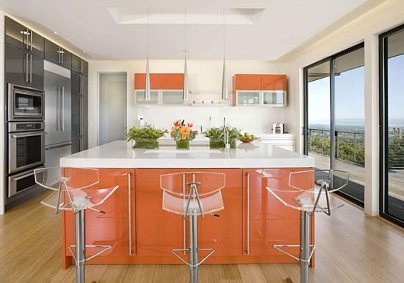 isla cocinar naranja