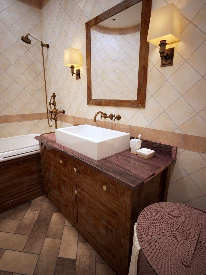 Baño con muebles de madera de decoración al estilo provenzal