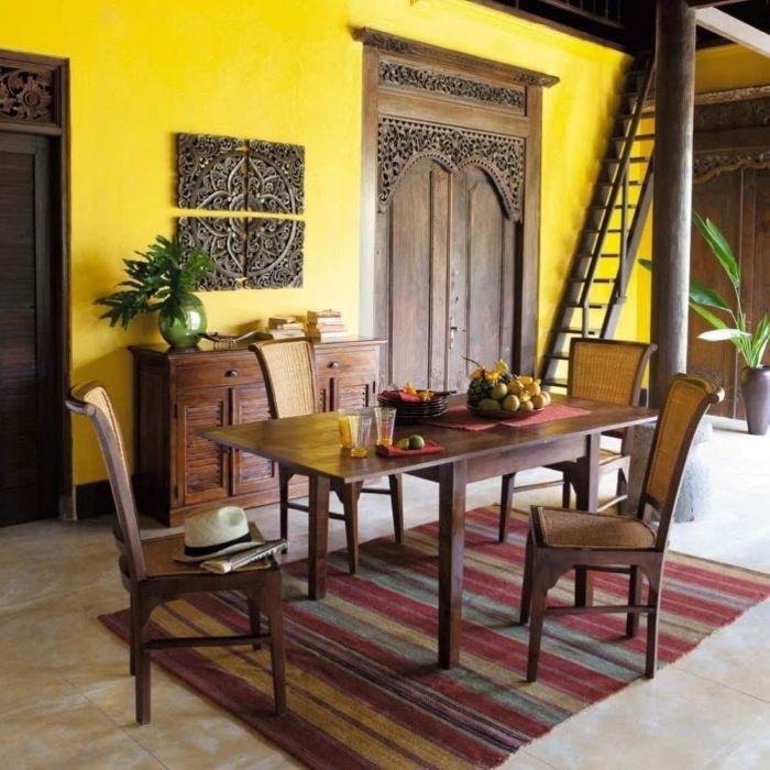 Mesa de comedor extensible para decoración exótica