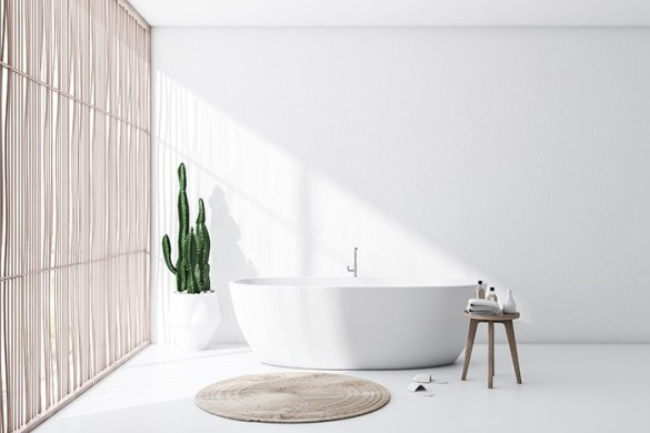 baño espacioso con bañera ovalada iluminado por la luz natural