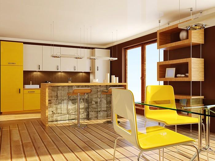 cocina con toques amarillos