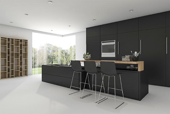 cocina grande y luminosa con colores negros