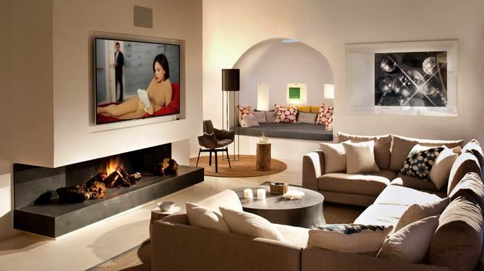 Salón luminoso estilo ibicenco proyecto villa Can Bikini