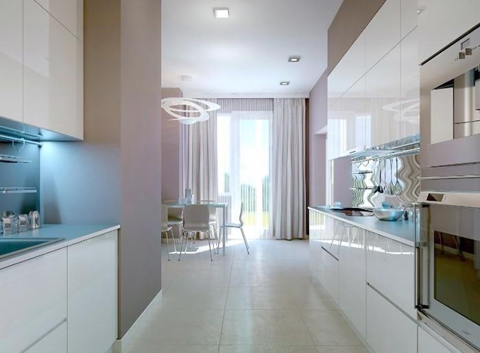 cortinas lila cocina