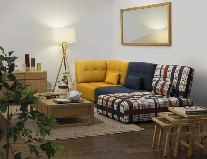 sofá rinconero en varios tonos de color de Habitat