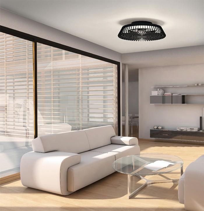 salon ventilador negro minimal