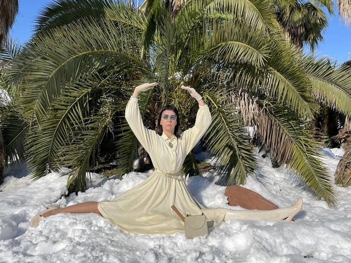 artista nieve palmera fotografia