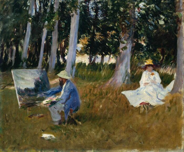Obra pictórica Monet pintando al borde de un bosque de John Singer Sargent