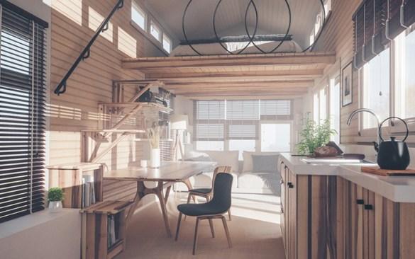 Interior casa modular rustica y acogedora