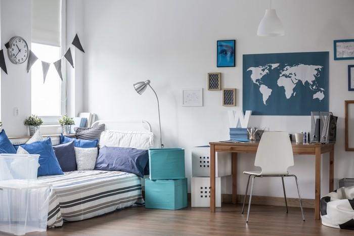 habitación juvenil tonos azules