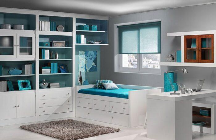 habitación juvenil tono blanco y azul