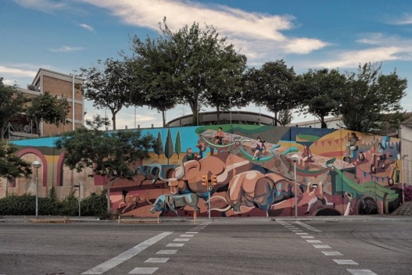calle pared pintada grande exterior