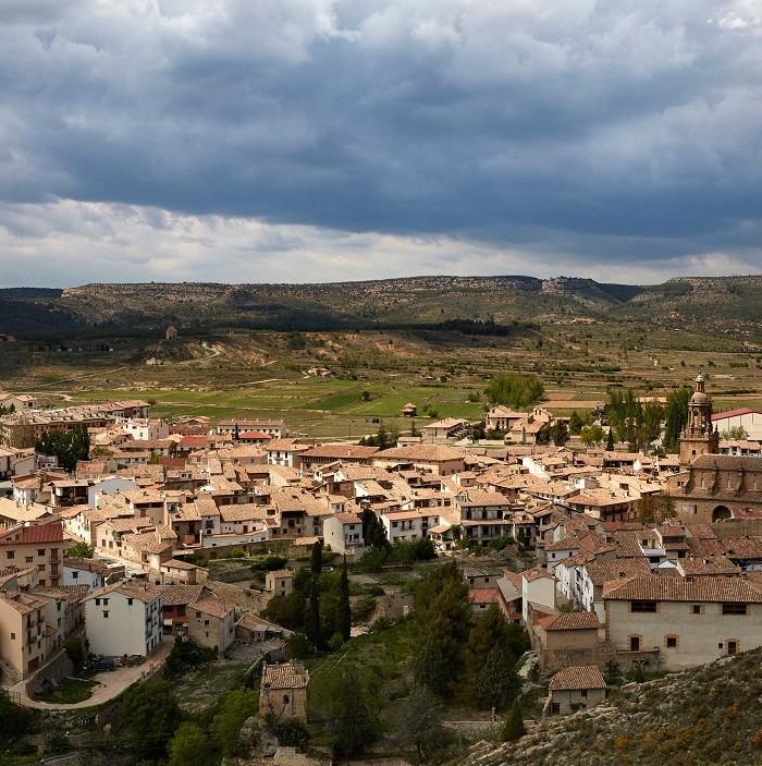 El pueblo Rubielos vista desde un dron