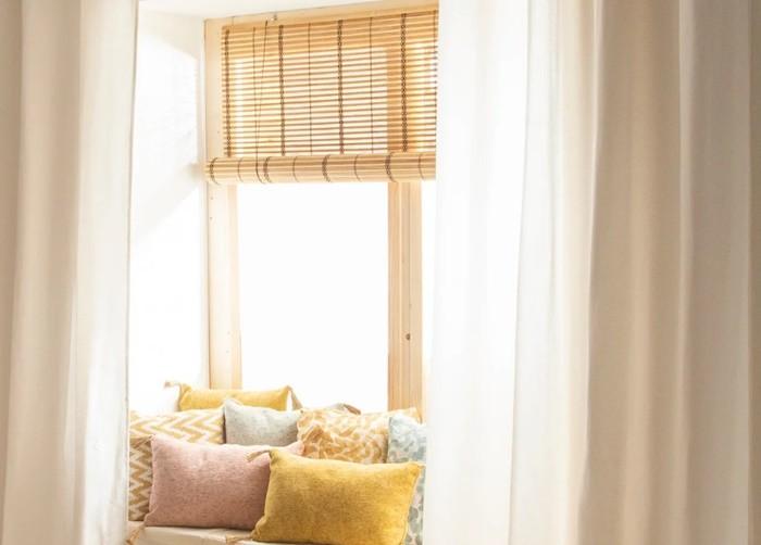 ventana persiana bambu marron beige