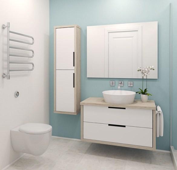 baño turquesa y blanco