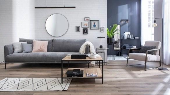 salon madera grises sofa mesilla
