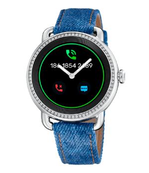 reloj inteligente para mujer de la marca Festina con correa en tela vaquera