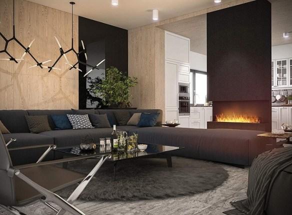 chimenea de bioetanol decorativa en un hogar