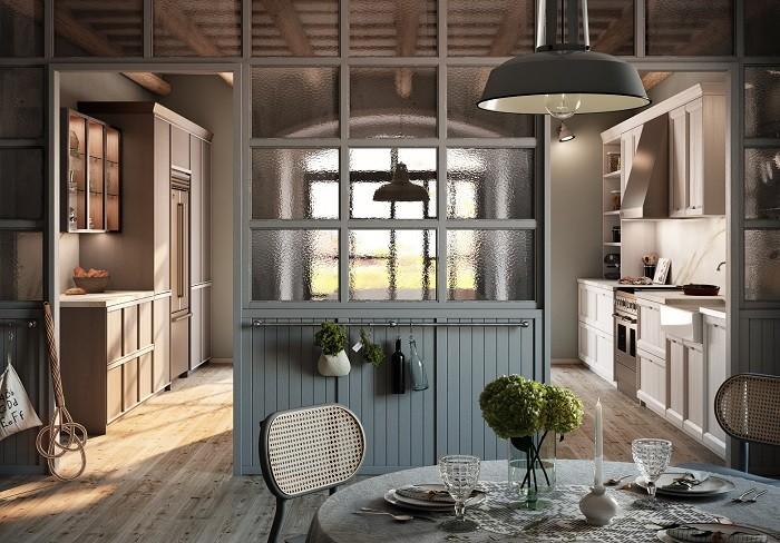 amplia cocina Rekker al estilo colonial con un toque romántico