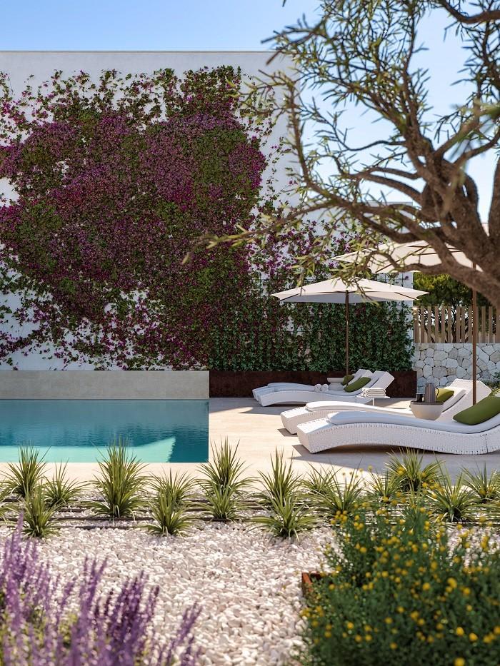exterior con piscina y tumbonas the white angel