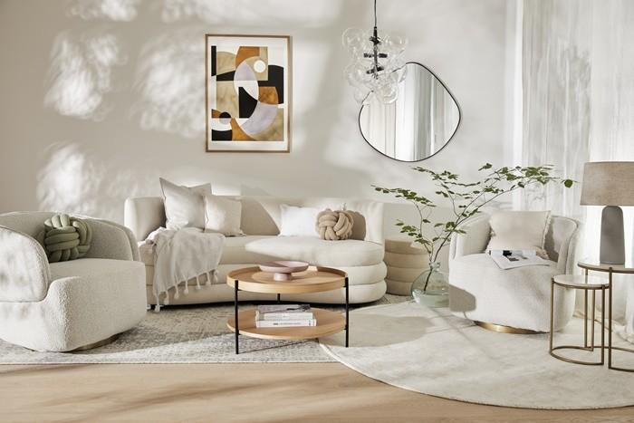 sofa sillones beige blanco lamparas