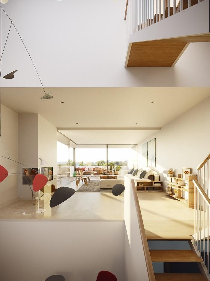 interior de vivienda de lujo de the white angel a varias alturas
