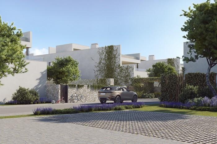 Entrada a viviendas de lujo en Ibiza
